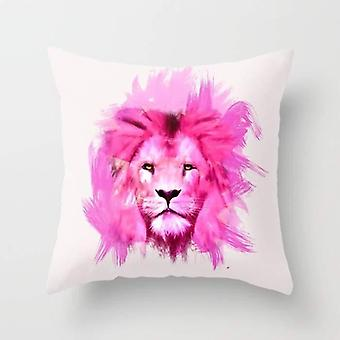 A pink lion looked at me. cushion/pillow
