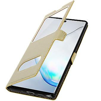 Double window flip standing case for Samsung Galaxy Note 10, TPU shell - Gold