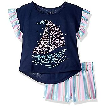 Nautica Girls' Große 2 Stück Jersey kurze Pyjama Set, Segelboot Streifen, Medium