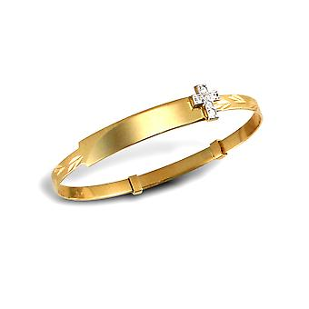 Jewelco London Kids Solid 9ct Yellow Gold White Round Brilliant Cubic Zirconia Cross ID 3mm Expanding Bangle Bracelet