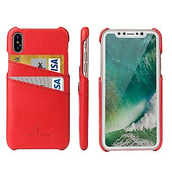 Pour iPhone XS,X Case,Elegant Handmade Durable Genuine Leather Fashion Cover,Red