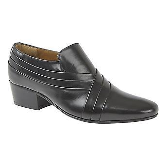 Kensington Mens Crisscross Vamp Cuban Heel Leather Shoes