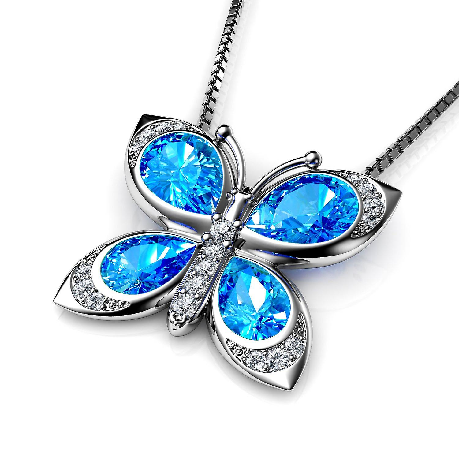 Dephini butterfly necklace - 925 sterling silver cz crystals