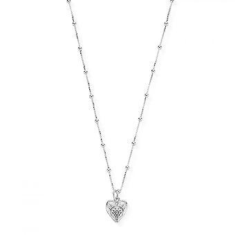 ChloBo Sølv Bobble Kæde mønstrede hjerte halskæde