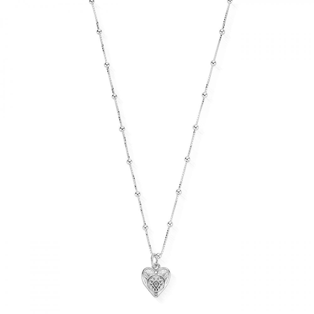 ChloBo Silver Bobble Chain Patterned Heart Necklace