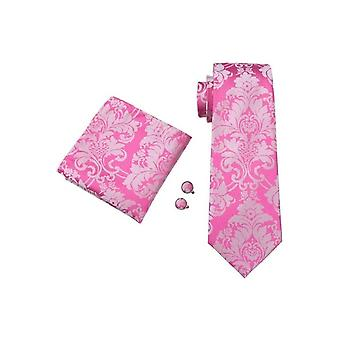 JSS Pink Floral Paisley Silk Neck Tie, Pocket Square & Cufflink Set