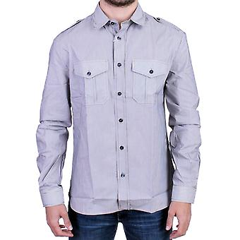 Galliano Blue Striped Casual Shirt