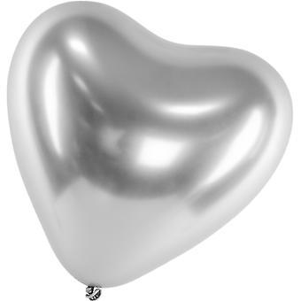 Ilmapallot Latex Heart Hopea | Kromi | Refleksi | Kiiltävä | Peili