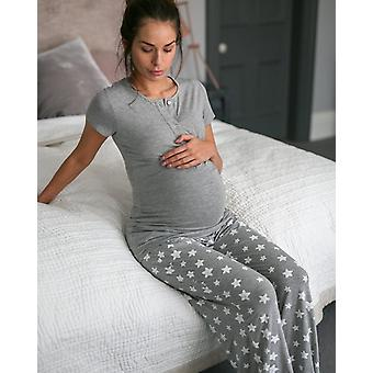 The Essential One Maternity Short Sleeve Star Nursing Pyjamas Small
