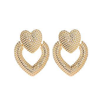 Pendiente en oro con corazones dobles