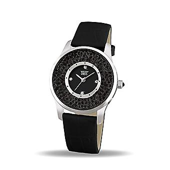 Davis 1783B-wrist watch for women, leather, color: black