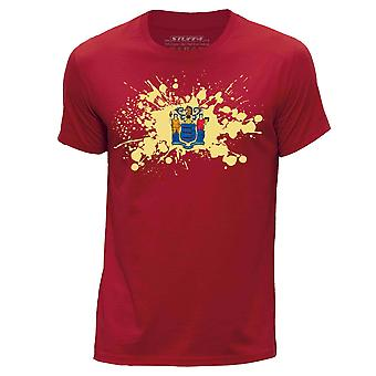 STUFF4 Men's Round Neck T-Shirt/USA State/New Jersey Flag Splat/Red