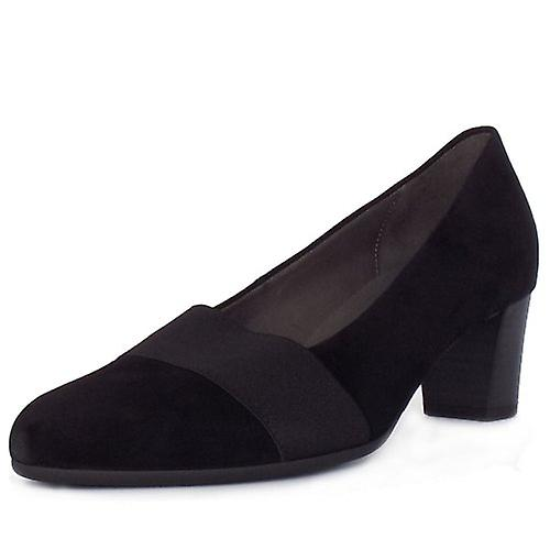 Gabor Respect Modern Mid Heel Court Shoes In Black Suede lRwfs