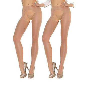 Womens Sexy Sheer Nude Crotchless Pantyhose Hosiery Stockings Beige Tights- 2 pack