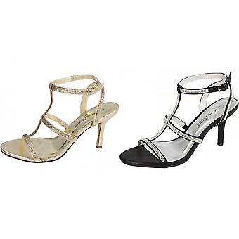 Anne Michelle Womens/Ladies Diamante H Bar Evening Sandals