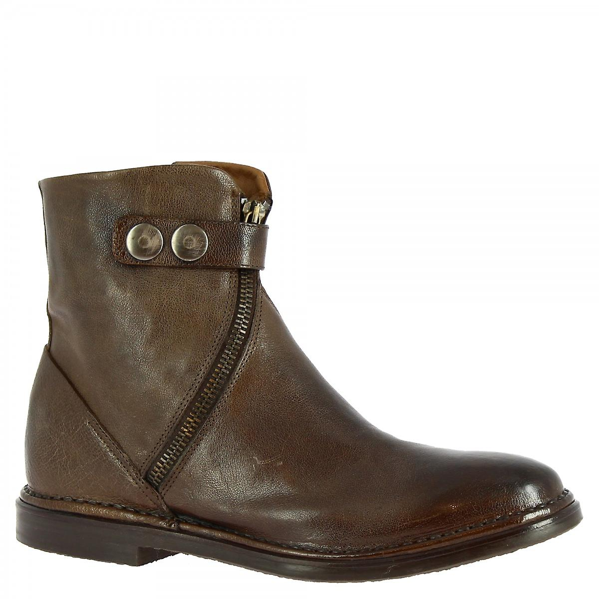 Leonardo Shoes Women's handmade ankle boots brown calf leather side zip and strap BZDXI