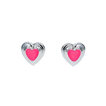 Boucles d'oreilles Olivia Collection Sterling Silver Pink Enamel Heart Stud