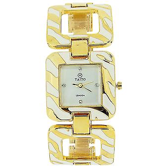 Taito London Ladies Mother Of Pearl Dial Goldtone Metal Square Link Watch