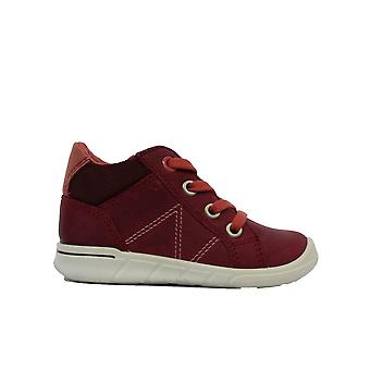 Ecco First Walkers 754091 02237 Burgundy Suede Leather Girls Lace Up Ankle Boots