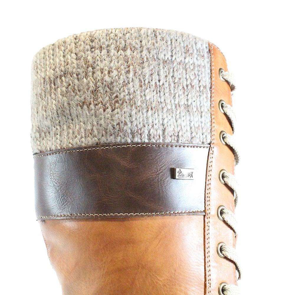 Rieker Santana Z1442-24 Tan Womens Lace/Zip Long Leg Warm Boots