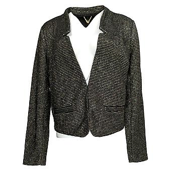 C. Wonder Women's Blazer Long Sleeve Knit Tweed Cropped Notch Black A284190