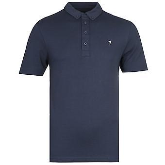 Farah George Dark Blue Button-Down Polo Shirt