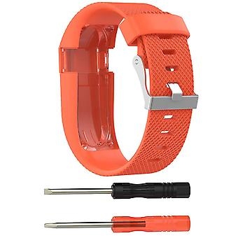 Wristband Bracelet Band Strap for Fitbit Charge HR Replacement[Small,Orange]