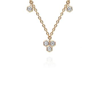 Diamond  Geometric Trilogy Chain Necklace in 9ct Yellow Gold 191N0229019