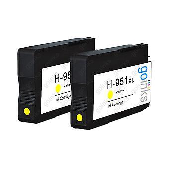 To gulkompatible HP 951Y -printerblækpatroner (HP951XL)