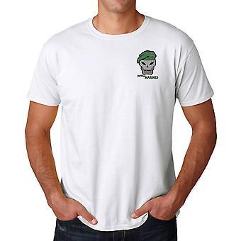 Royal Marines Skull Beret Embroidered Logo - Cotton T Shirt