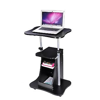 Yescom Adjustable Height Rolling Mobile Stand Laptop Desk Cart w/ Storage Office Black