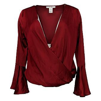 Masseys Women's Top Silky Wrap Top Long Sleeve Dark Red
