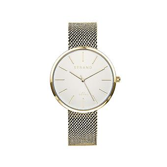 Strand By Obaku S700LXGIMG Sunset-Gold White Dial Wristwatch