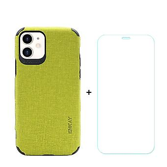 Voor iPhone 11 Case Denim Texture Green Cover & Tempered Glass Screen Protector