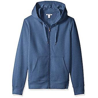 Essentials Men's Full-Zip Hooded Fleece Sweatshirt, Blue Heather, Medium