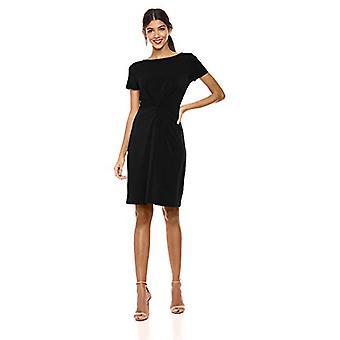 Brand - Lark & Ro Women's Crepe Knit Short Sleeve Center Twist Dress, Black, 12