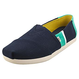 Toms Classic Mens Espadrille Shoes in Navy Green