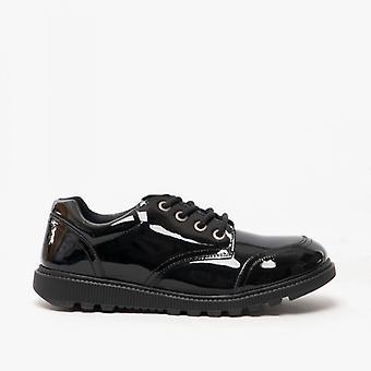 Hush Puppies Kiera Girls Leather School Shoes Patent Black