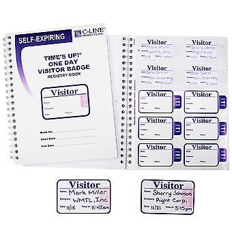 97009, Times Up! Badges de visiteur auto-expirants avec registre, 1/BX, 97009