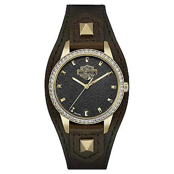 Harley Davidson Women's Shaped Cuff | Brown Leather Strap | Black Dial | 77L105 Watch