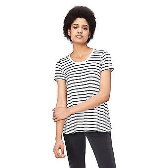Daily Ritual Women's Jersey Short-Sleeve Scoop Neck Swing T-Shirt, White-Navy...