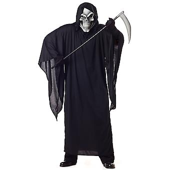 Grim Reaper Horror Robe Death Skeleton Halloween Mens Costume Plus