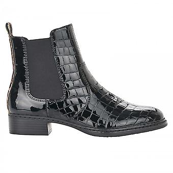 Rieker Black Patent Chelsea Style Anlke Boot With Leopard Print Detail
