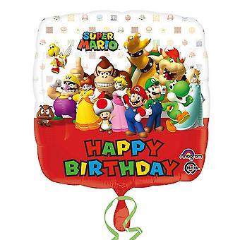 Amscan Mario Bros tegn Happy Birthday folie ballong