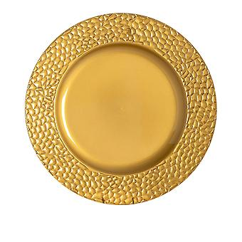 Argon Tableware Single Round Charger Plate - Hammered Metallic Finish - 33cm - Gold