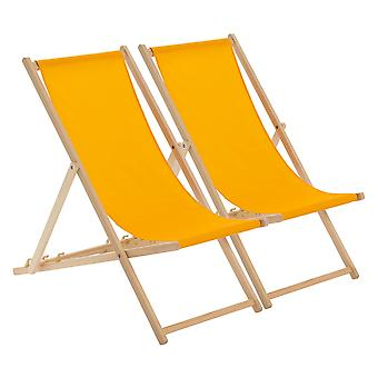 Traditional Adjustable Wooden Beach Garden Deck Chair - Orange - Pack of 2