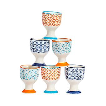 Nicola Spring 6 Piece Hand-Printed Egg Cup Set - Porcelain Breakfast Hard Soft Boiled Eggs Holder - 3 Colours