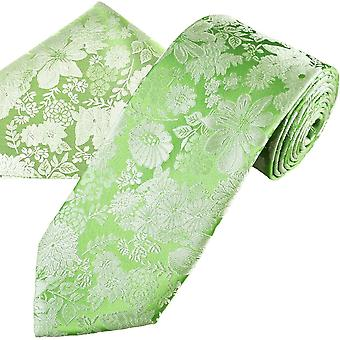 Ties Planet Gold Label Sage Green & Silver Flower Patterned Men's Silk Tie & Pocket Square Handkerchief Set
