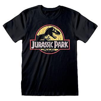 Universal Jurassic Park originele logo distressed T-shirt Unisex Large Black