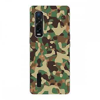 Hull For Oppo Find X2 Pro In Silicone Soft 1 Mm, Military Camouflage